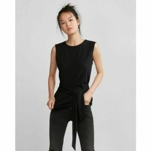 Express One Eleven Tie Front Tank Top Black XS